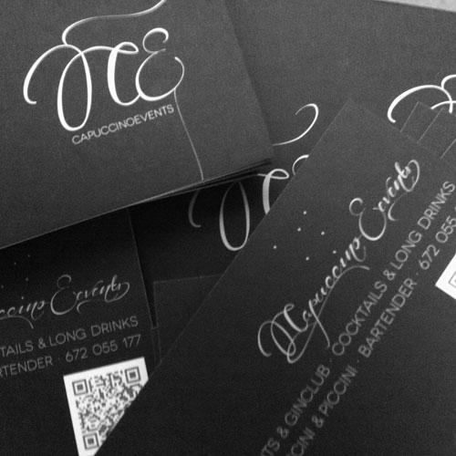 diseño gráfico de tarjetas comerciales - Capuccino Events
